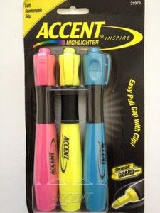 Accent Inspire Highlighter Markers 3 PK Pink Yellow Blue | eBay $4.59