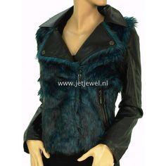 Lavand jas Nora petrol blue leather look jacket