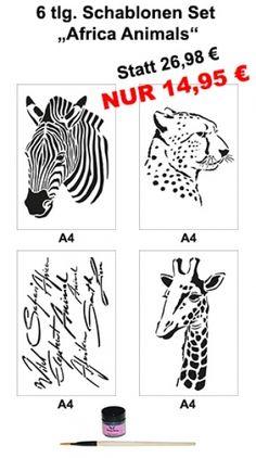 Pinky Style Schablonenset -Africa Animals- von Laurenz+Morgan  - Bastel- & Künstlerbedarf auf DaWanda.com