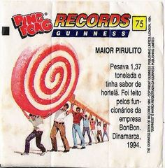 figurinhas do chiclete Ping Pong - Records Guinnes - nº 75