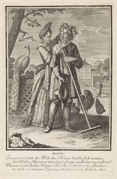 Caspar Luyken   Mei, Caspar Luyken, 1698 - 1702   De maand mei. Een man werkt met een hark in een tuin. Achter hem een vrouw die hem een bloemenkrans op het hoofd drukt. Achter de vrouw een pauw. Op de achtergrond een herenhuis. De prent heeft een Duits onderschrift van vier regels over de maand mei.