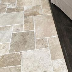 Perfect execution of Versailles pattern and flawless transition from travertine to hardwood. Love working with JL Carter construction. Flooring For Stairs, Diy Flooring, Flooring Ideas, Travertine Floors, Stone Flooring, Best Flooring For Kitchen, Floors Kitchen, Versailles Pattern, Building A Deck