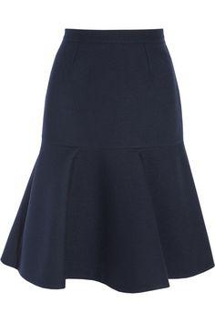 STELLA MCCARTNEY Fluted wool-blend twill skirt
