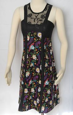 Brodie Dress Day of the Dead Design with Black Lace by Jezenya