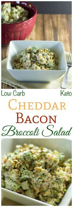 This simple low carb bacon cheddar broccoli salad is great for a summer picnic or potluck. The tangy creamy dressing is sweetened with all natural stevia.: This simple low carb bacon cheddar broccoli salad is great for a summer picnic o. Ketogenic Recipes, Low Carb Recipes, Diet Recipes, Healthy Recipes, Salad Recipes, Atkins Recipes, Pescatarian Recipes, Delicious Recipes, Cauliflowers