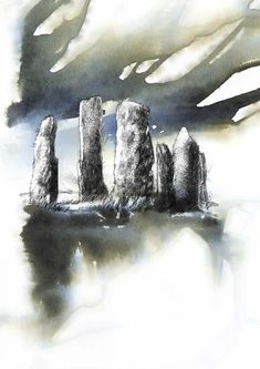 Standing stones, Artist Sean Briggs producing a sketch a day, prints available at https://www.etsy.com/uk/shop/SketchyLife  #art #drawing #http://etsy.me/1rARc0J #stones