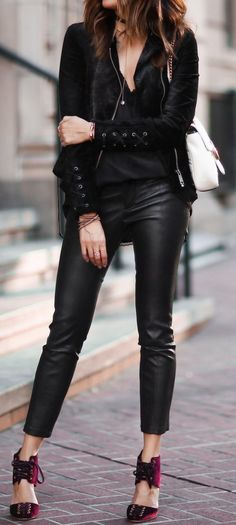 Black Velvet V-neck Top // Leather Leggings / Red Pumps                                                                             Source