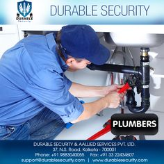 Best #PLUMBERS #services in kolkata Visit Us at: www.durablesecurity.com Or Call Us at: +91 9883040055