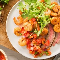 Looking for a guilt-less and flavor-full summer recipe? We've got you covered with this easy-to-make Spicy Surf & Turf dish featuring steak and shrimp! Grilling Recipes, Seafood Recipes, Vegetarian Recipes, Dinner Recipes, Healthy Recipes, Vegetarian Protein, Savoury Recipes, Steak And Shrimp, Marinated Shrimp