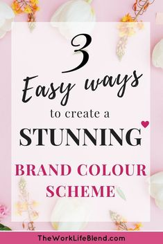 3 easy ways to create a stunning brand colour scheme. This post covers all topics relating to you brand colour palette and how to choose the right colour scheme for your business. Your brand is your visual identity and your colour scheme is key in creating a strong brand. I cover how to find brand colour inspiration, how to create a brand colour scheme using online tools, all the terminology like hex and rgb codes and explain the mysteries of the colour wheel. #brandcolourscheme