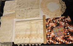 Vintage Lot of 7 pc Lace Handmade Crochet Embroidery Table Runner Cloth Trivet