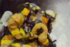 Firefighter Acrylic Painting oil FDNY fireman by ReburnDesigns