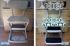 How many of you have an old chair like this in your garage or basement? Or maybe your parents have one and would appreciate a makeoker to repurpose?  I LOVE this...