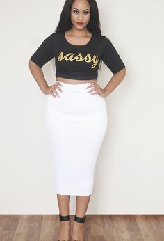 Rebdolls White Body-Conscious Midi Skirt | Shop Women's Missy & Plus Size Clothing