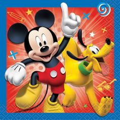 Mickey Mouse Beverage Napkins, By Disney Mickey Mouse Party Supplies, Mickey Mouse Parties, Mickey Mouse And Friends, Mickey Mouse Clubhouse, Mickey Mouse Birthday, Mickey Minnie Mouse, Disney Mickey, 4th Birthday, Birthday Cakes