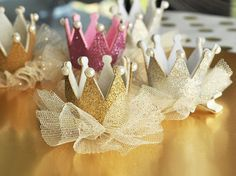 Glitter Crown Clips A princess party must have! Use these Glitter Crown Clips for the birthday girl or hand them to each guest to turn them Princess Theme Party, Baby Shower Princess, Princess Birthday, Crown Party, Glitter Birthday, Bday Girl, Gold Party, 1st Birthday Parties, Birthday Ideas