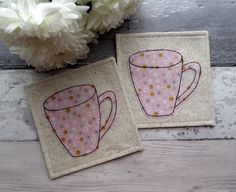 Pink Mug Coasters, Floral Coasters, Gift For Her, Textile Coasters, Fabric Coasters, Birthday Gift, Table Decor, Drink Coasters by TheCornishCoasterCo on Etsy