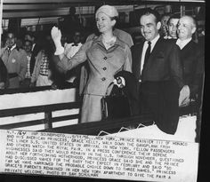 9/11/56 - Prince Rainier III of Monaco and his American Princess, Grace Kelly, walk down the gangplank from the liner S.S. United States on arrival in New York. Fellow passengers and others watch the royal pair.