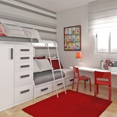 Asymmetrical bunk beds with storage