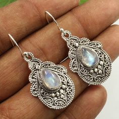 Natural Fire RAINBOW MOONSTONE Gemstones 925 Sterling Silver Jewelry Earrings #Unbranded #DropDangle