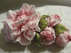 Vintage Style Millinery Ribbon Corsage, Ribbon work, Rose w/ buds, Hat,Wedding,