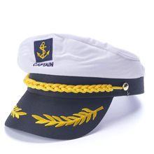 d58b4af7f3 Branco Yacht Skipper Capitão da Marinha marinha Navio Marinheiro Náutico  Militar Cap Chapéu Adultos Traje Do