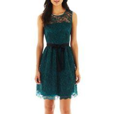 Danny & Nicole® Lace Dress - jcpenney, live the dark teal color! Dress P, Dress Me Up, Lace Dress, Cute Dresses, Casual Dresses, Cute Outfits, Emerald Dresses, Taffeta Dress, Wholesale Fashion