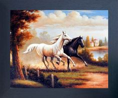 Your love for animals can now be seen on the walls of your house with this wild stallion horses running western art print framed poster. This framed poster captures the image of running two horse in all their glory is sure to bring a unique charm into your room. It would definitely a classy addition in your room decor. Your guests will definitely compliment you for your excellent taste. Its wooden espresso frame accentuates the poster mild tone.