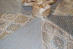 High End Christmas Tree Skirt of Blue Cream. Holidays by Refined Concepts on Etsy