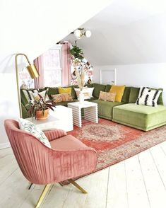 An Attic Room makeover with Bassett Furniture — house on a sugar hill Home Living Room, Living Room Designs, Living Room Decor, Living Spaces, Retro Living Rooms, Cool Living Room Ideas, Blush Living Room, Modern Living, Home And Deco