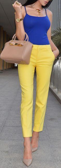 royal blue camisole, lemon meringue fitted trousers, nude pointiletos, beige handbag, light tan, long straight raven locks