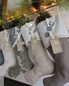 2014 Christmas Stocking Round-up - South House Designs Burlap Christmas, Christmas Sewing, Christmas 2014, Christmas Projects, Christmas Decorations, Christmas Ornaments, Classy Christmas, Christmas Tables, Nordic Christmas