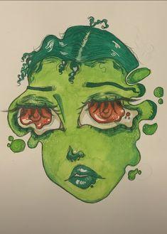 Cool Art Drawings, Art Drawings Sketches, Art Inspiration Drawing, Art Inspo, Pretty Art, Cute Art, Arte Grunge, Indie Art, Funky Art