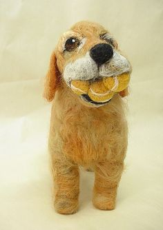 Needle Felted Wool Sculpture of Tucker the Golden Retriever by Amelia Makes Art, via Flickr