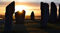 Sunrise over the Calanais standing Stones, Scotland.