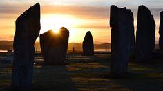 Sunrise over the Calanais standing Stones, Scotland.