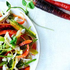 Rainbow Carrot, Pea Shoot, and Chicken Salad (add frozen peas, Greek yogurt, & mayo?)