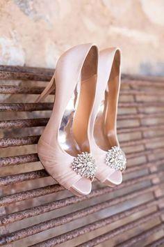 Blush pink pep toe bridal shoes   Pink wedding ideas   Confetti.co.uk #weddingshoes