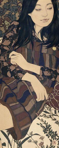 No102/2013  「夜話灯・樹子」  「Talking under Nocturne Lamp・Natsuko」  75cm x30cm  麻布・岩絵具・水干・膠・墨・金泥   Linen Canvas/Mineral pigments/  Gelatin glue/Soot ink/Pure gold