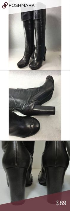 "New Knee high Heel fashion Boots Very chic leather knee high heel boots. Brand is exchange by Charles David. Style: academy . Color: pewter metallic brushed. Size: 8.5 . They have a leather upper & synthetic sole.They are unworn and new. Approx . measurements are 3 1/2 inch heel. Approximate 14"" circumference. Exchange by Charles David Shoes Heeled Boots"