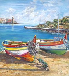 Harbor View* Painting by Ginger Cook Nautical Painting, Boat Painting, Nautical Art, Seascape Paintings, Landscape Paintings, Sailboat Art, Sailboats, Beach Scenes, Beach Art