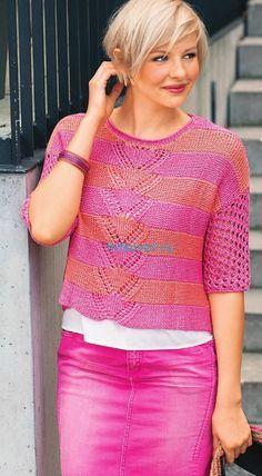 Вязание полосатого пуловера с ажурными рукавами