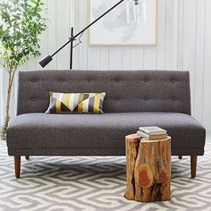Rounded Retro Armless Sofa #westelm. Perfect settee for nook table. Modern dining table bench. Reupholster in white sunbrella fabric