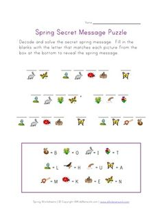 5 Best Images of Spring Puzzles Printable Worksheets - Spring Crossword Puzzle Worksheet, Kids Cryptogram Puzzle Worksheet and Printable Spring Word Search Puzzles Visual Motor Activities, Spring Activities, Therapy Activities, Alphabet Activities, English Activities, Writing Activities, Reading Worksheets, Worksheets For Kids, Easter Worksheets