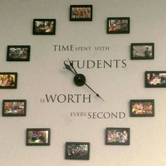 The famous #familyclock has been altered for a #school. Love this for a #classroom.  #students #teachers #classroomclock #ultorreh #vinyl