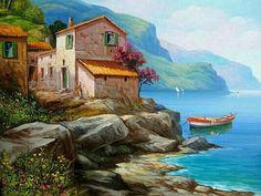 Casa en el mar Seascape Paintings, Landscape Paintings, Pictures To Paint, Art Pictures, Watercolor Landscape, Watercolor Paintings, Picture Borders, Facebook Art, Boat Painting