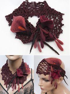 snood headband crochet laine feutrée bordeaux