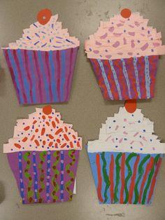 Wayne Thiebaud cupcake painting / Kindergarten