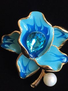 BLUE PEARL RHINESTONE DAFFODIL ROSE LILY IRIS ORCHID FLOWER PIN BROOCH JEWELRY #Unbranded
