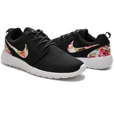 Custom Nike Roshe Run Sneakers Athletic Sport Womens Shoes Black Color... ($90) ❤ liked on Polyvore featuring shoes, sneakers, sports shoes, kohl shoes, floral shoes, sporting shoes and black sports shoes